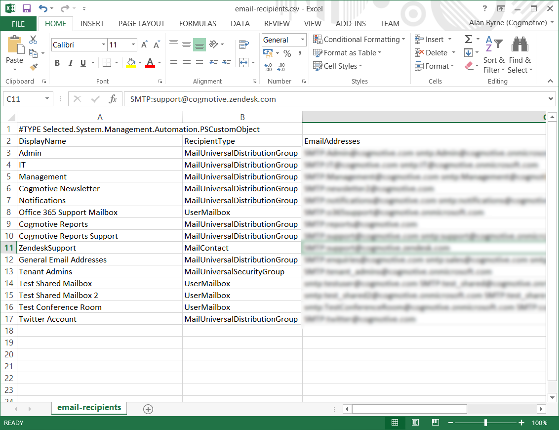 Email Addresses in Excel