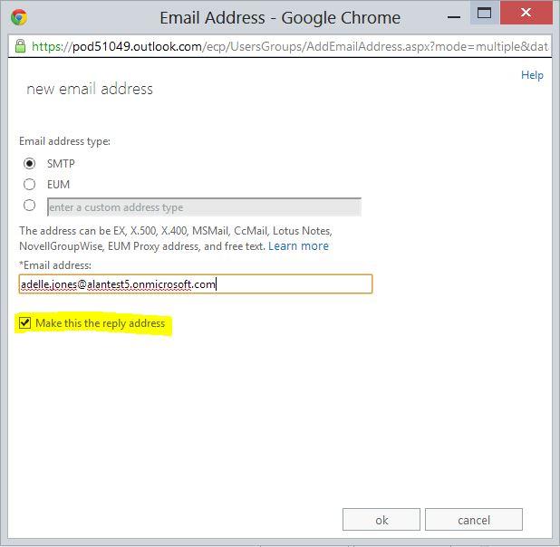 Specify a new Email address