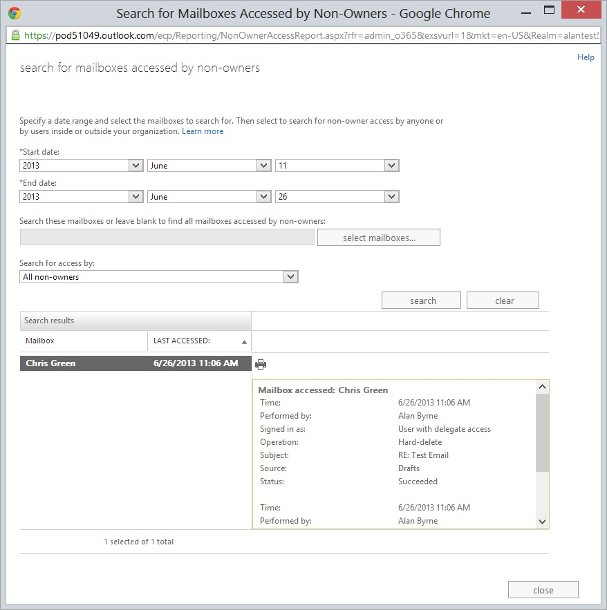Mailbox Access Audit Search Results