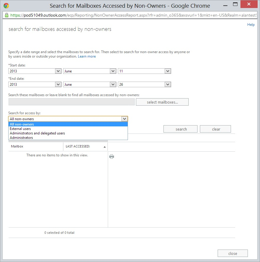 Mailbox Access Audit Search