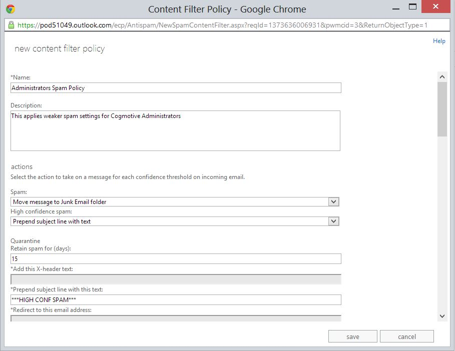 Administrators Content Filter Policy