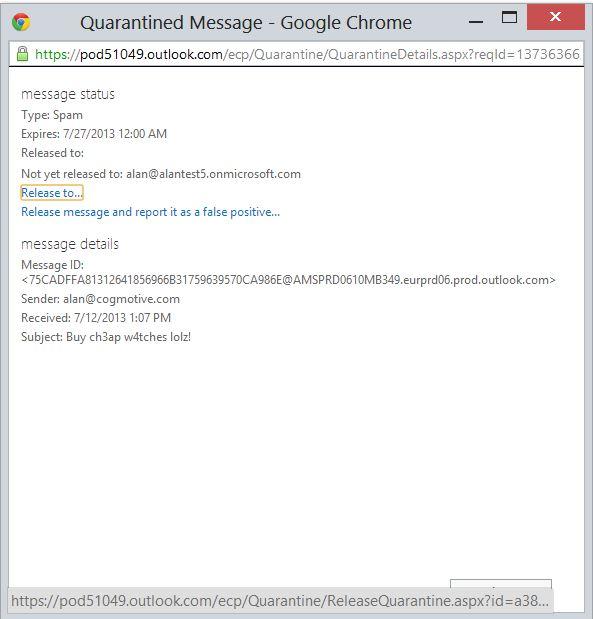 Quarantined Message Properties