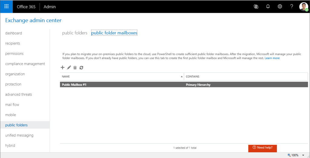 The first step to creating a shared calendar in Office 365.