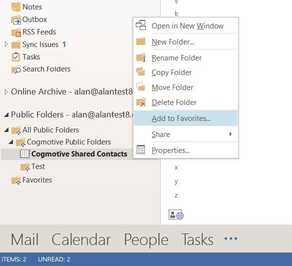 Add folder to Favorites in Outlook