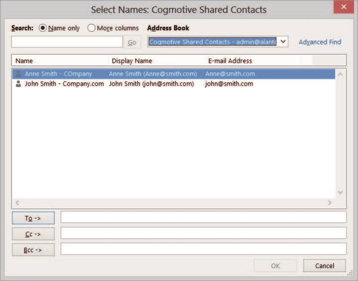 View Shared Contacts in Address Book