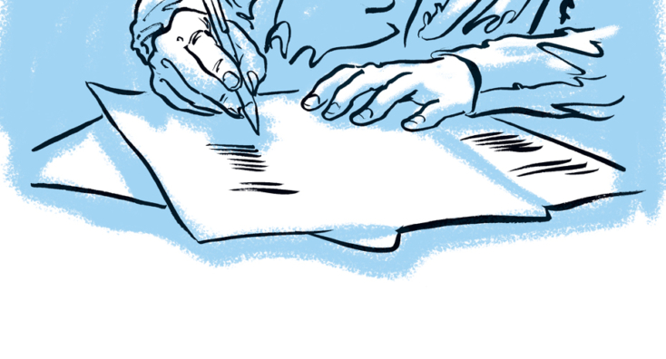 A sketch depicting a business person writing a document template