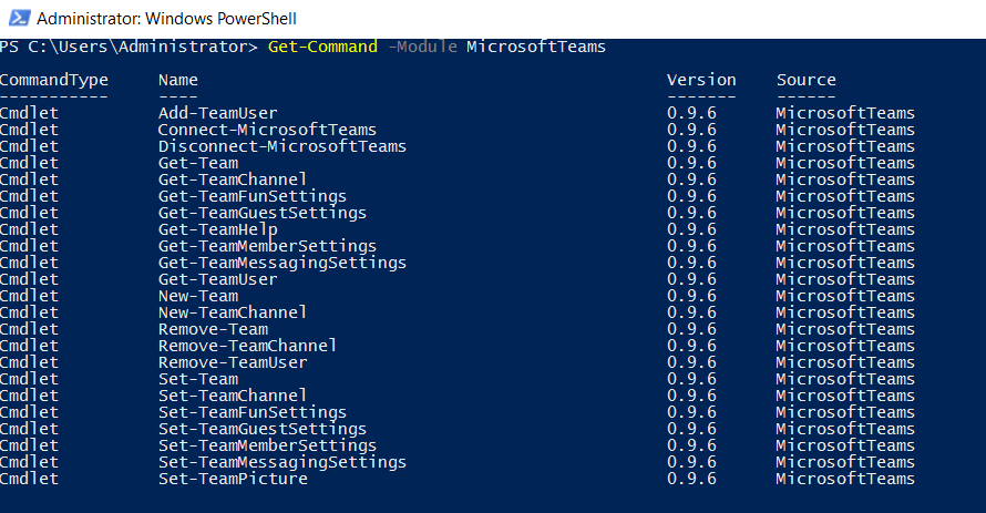 Manage Microsoft Teams Admin Windows PowerShell