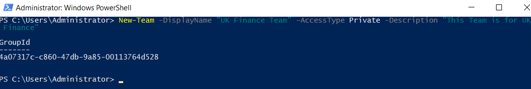 PowerShell Admin Command to Manage Microsoft Teams