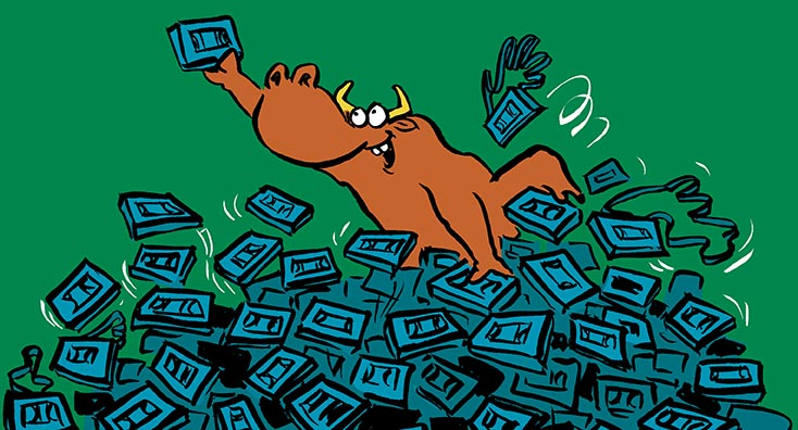 A bull searching for a VHS tape, which is a fitting analogy for email archives.