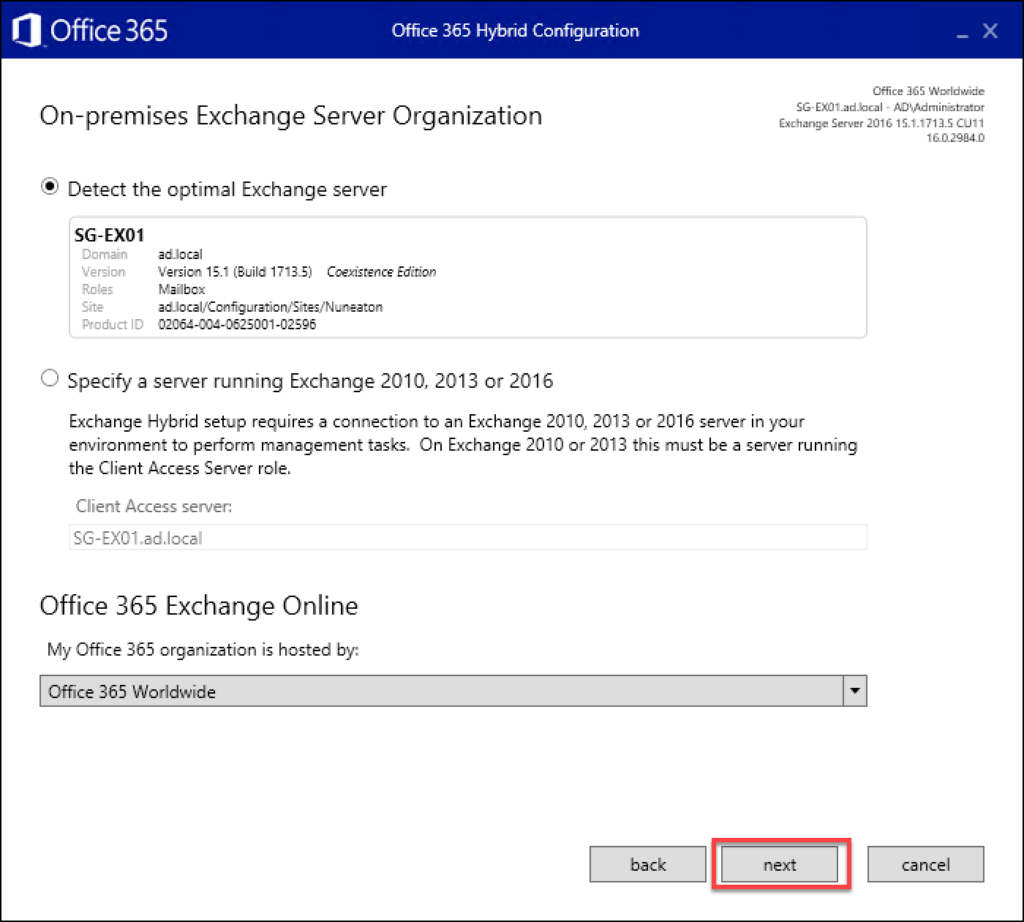 Screen shot showing the 11th step in Exchange to O365 migrations