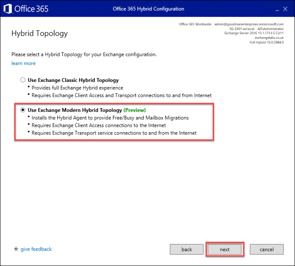 Screen shot showing the 14th step in an Exchange to Office 365 migration