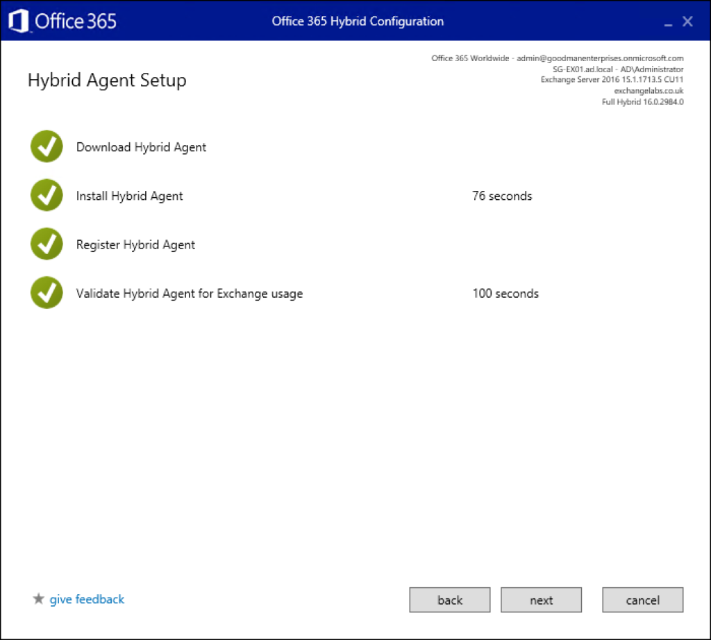 Step 16 explaining Exchange to Office 365 migrations