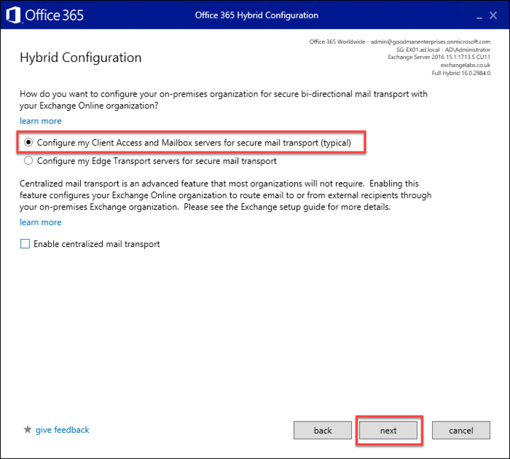 The 17th step in migrating from Exchange to O365
