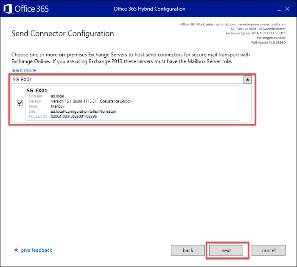 A screen shot showing the 19th step in Exchange to Office 365 migrations