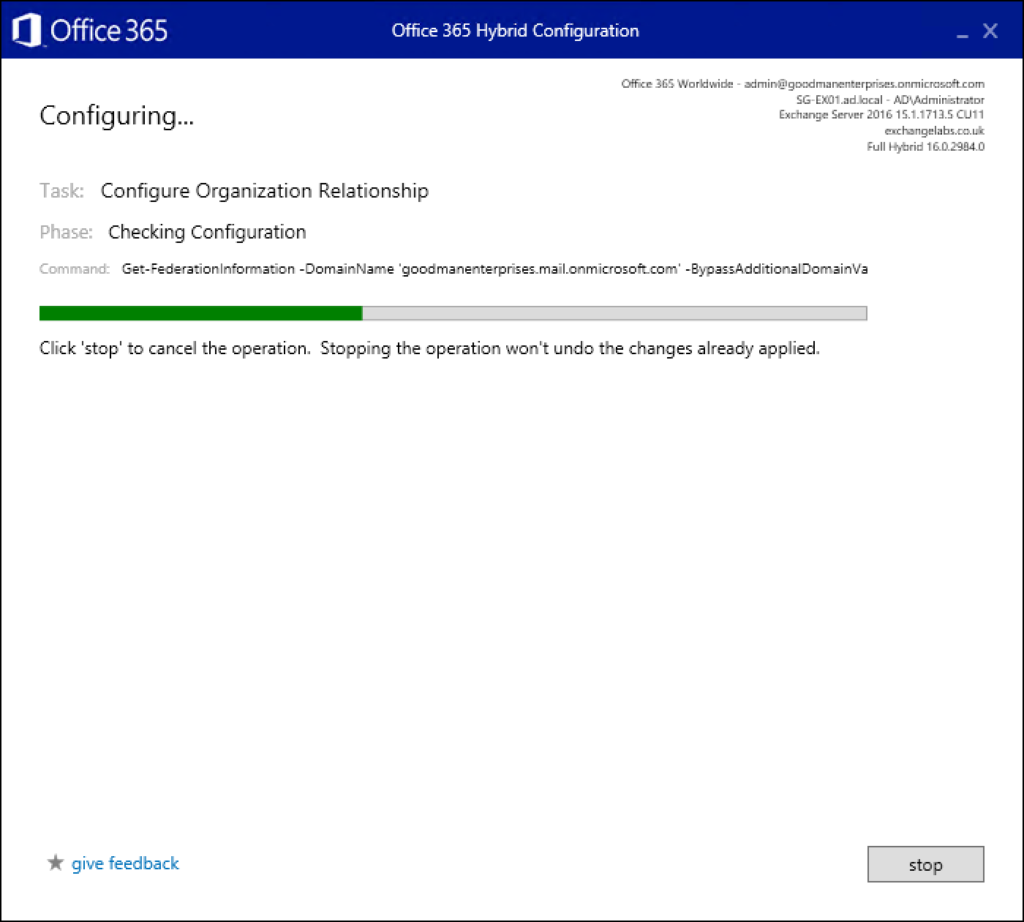 Step 22 in migrating Exchange to Office 365