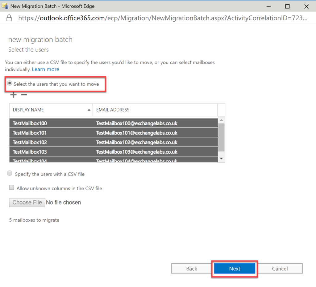 Step 29 in migrating Exchange to O365