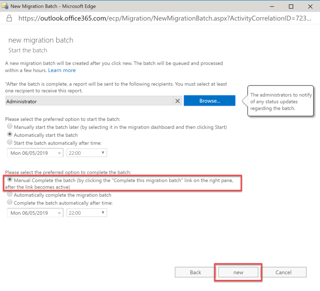 Step 32 in migrating Exchange to O365