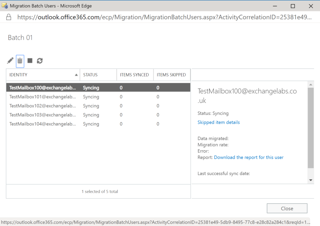 Step 34 in the migration from Exchange to Office 365