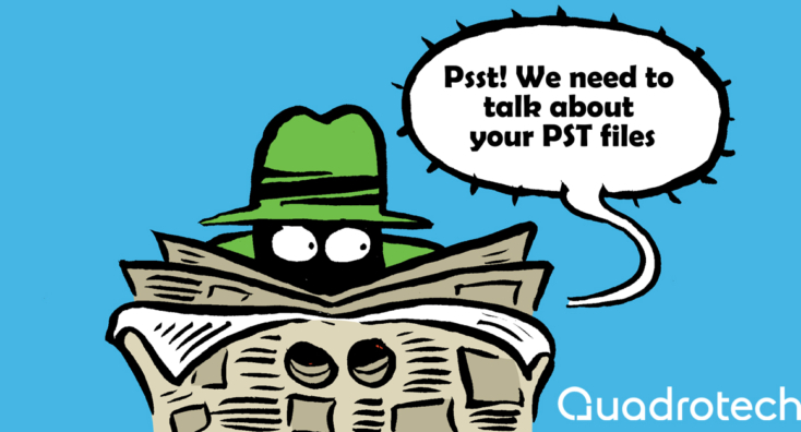 A comic-style spy, loudly whispering to gain attention so he can discuss how to migrate PST files to Office 365.