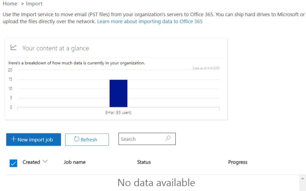 Screen shot showing the first step in migrating PST files to Office 365