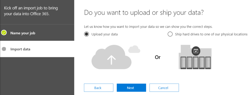 The thirs step in migrating PST to O365.