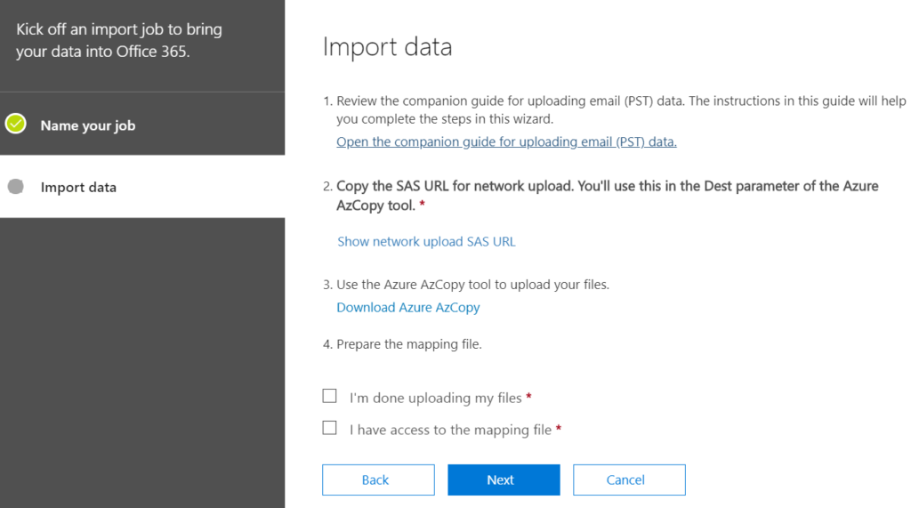 The fourth step in importing PST files to Office 365.