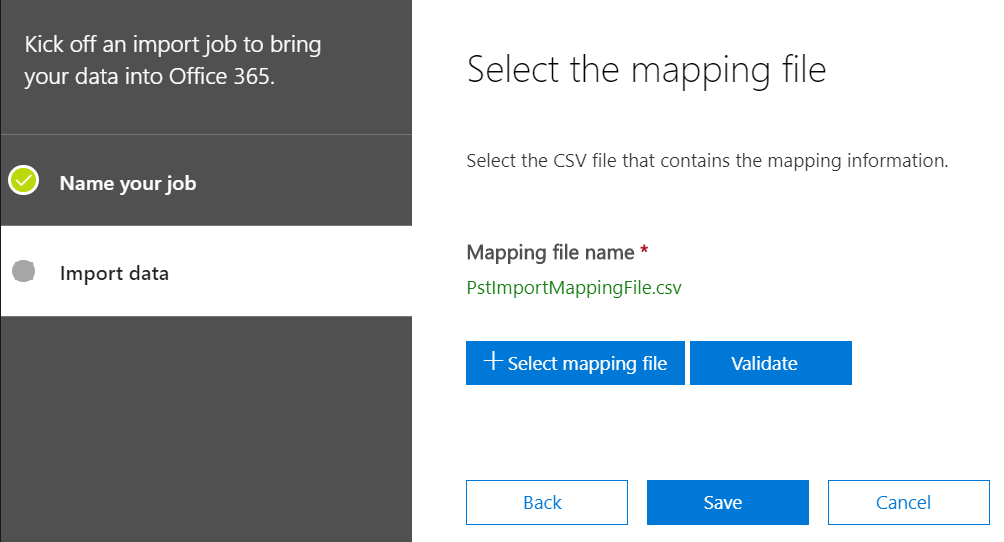 The eights step in how to migrate PST files to Office 365