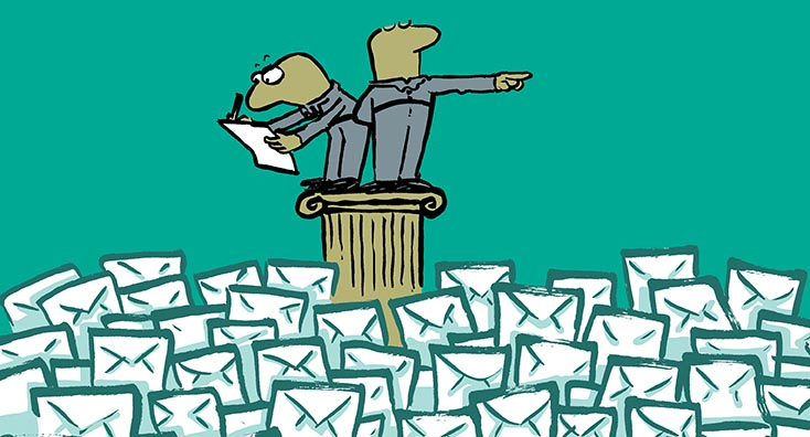 Two businessmen stood above a mountain of emails, debating the benefits of email archive migrations