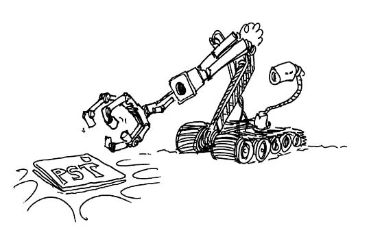 A black and white image of bomb disposal robot investigating a PST landmine.