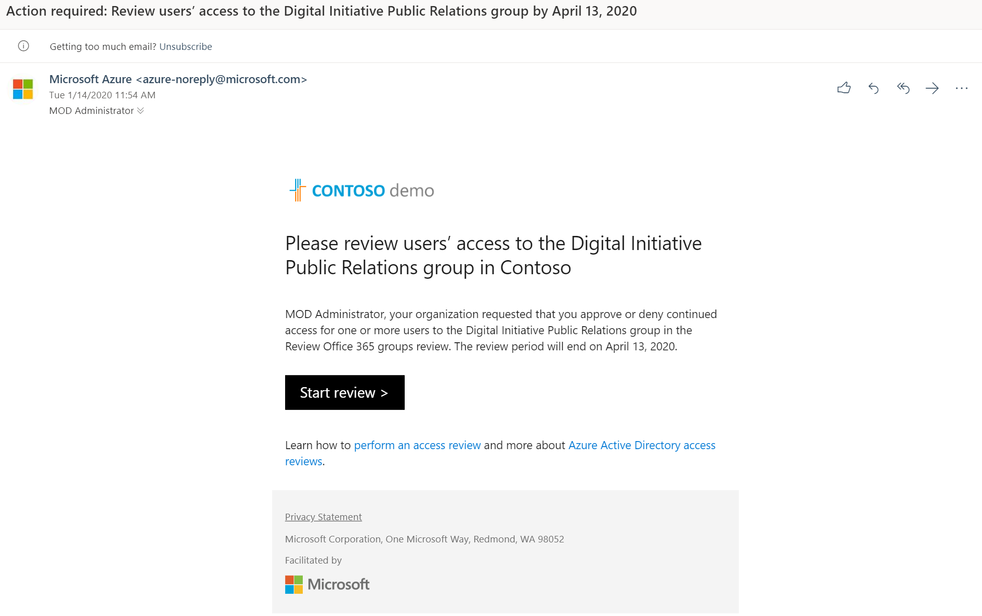 Contoso demo please review users access