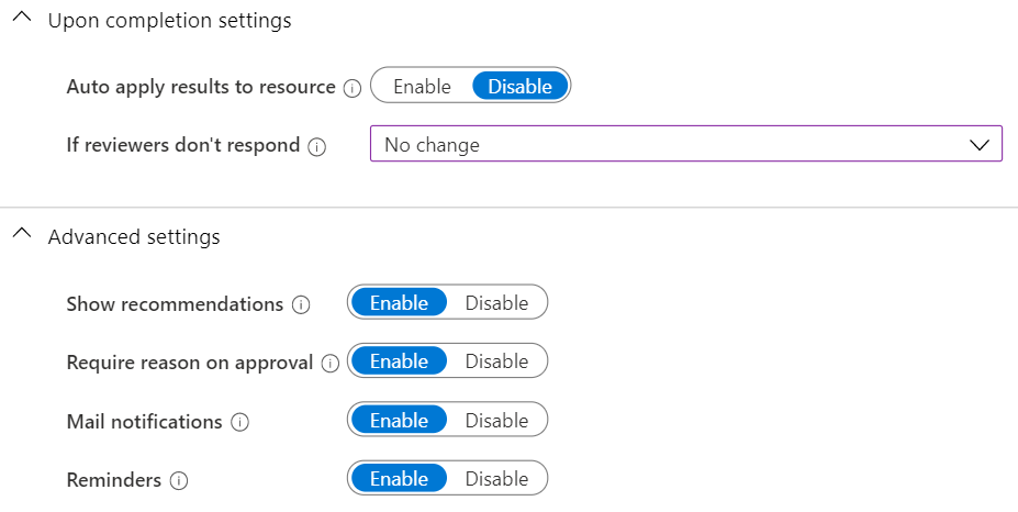 Azure AD Completion Settings