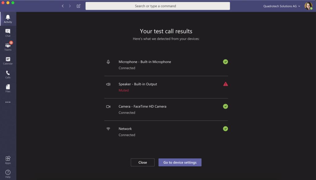 Test Call Microsoft Teams - Step 6