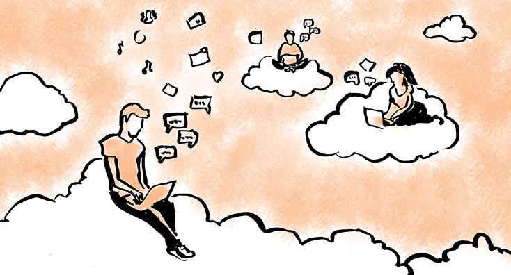 Users sat on clouds, sharing links.