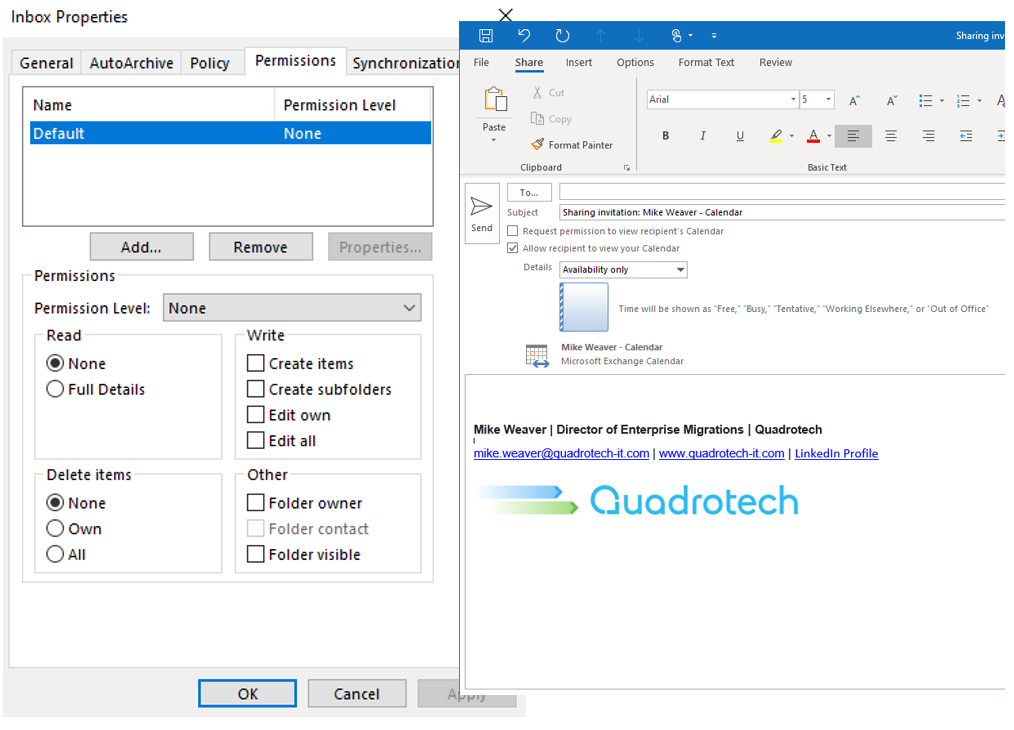 Screen shot showing how to access Exchange Folder and Calendar permissions.