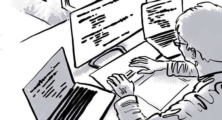 IT pro sat at computer, migrating Outlook calendar permissions