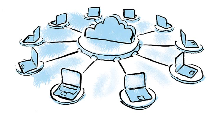 A cloud connecting to several computers, depicting Office 365 mailbox permissions being shared between many users.