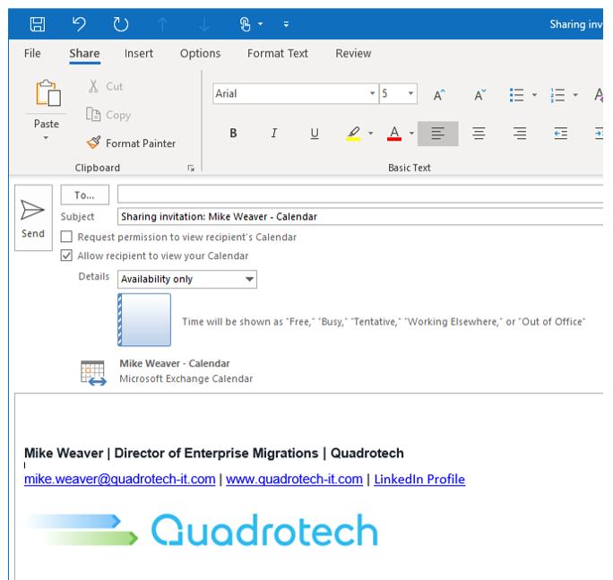 Screen shot showing the Shared Calendar window in Outlook.