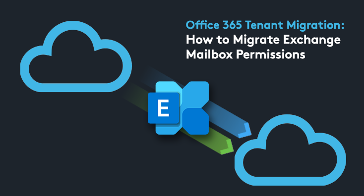 The Exchange Online logo being sent from one cloud to another, depicting an Office 365 tenant migration.