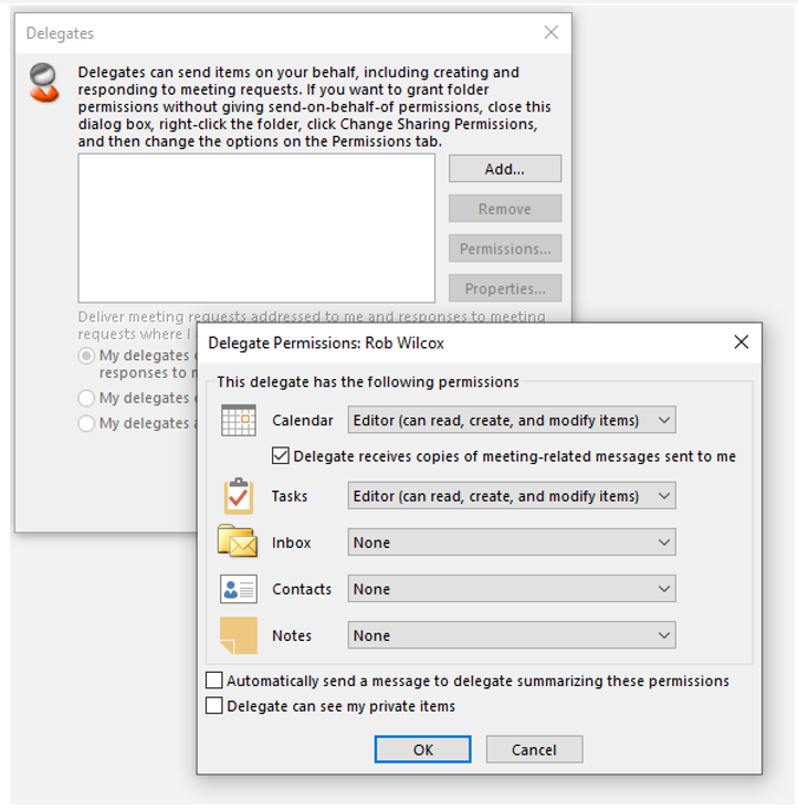 Screen shot showing the UI for setting delegates.