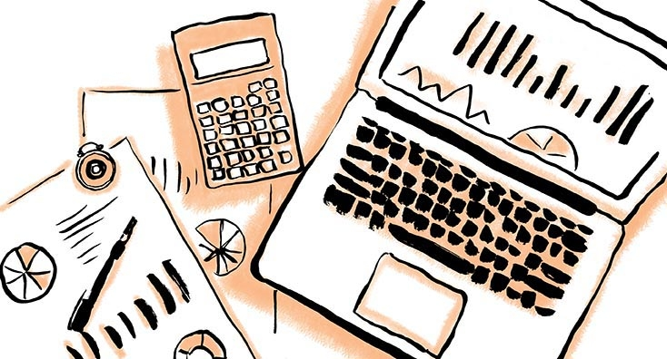 A calculator and financial spreadsheet, representing the notion of business cost cutting ideas.