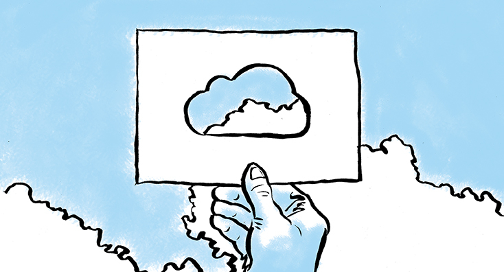 Image of a cut-out cloud in the sky, depicting the challenges of Office 365 management.