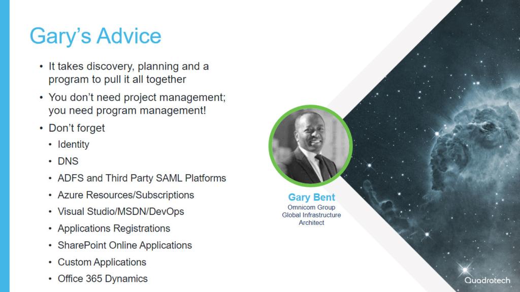 Gary Bent's tenant migration advice