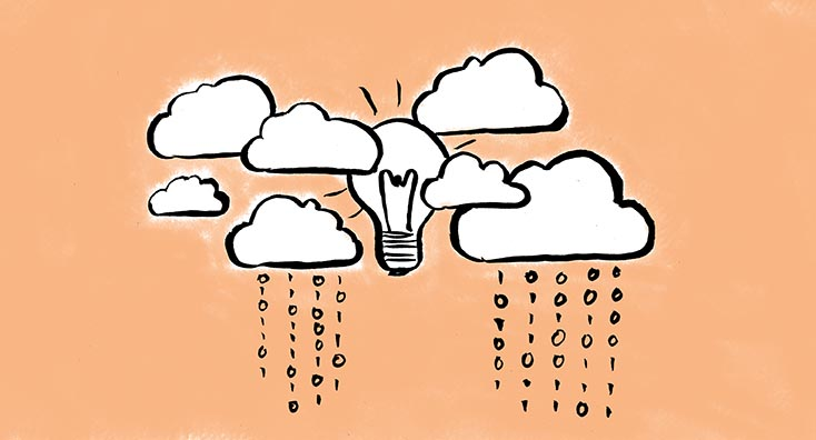 Multiple clouds with a lightbulb, representing ideas for tenant to tenant migrations.