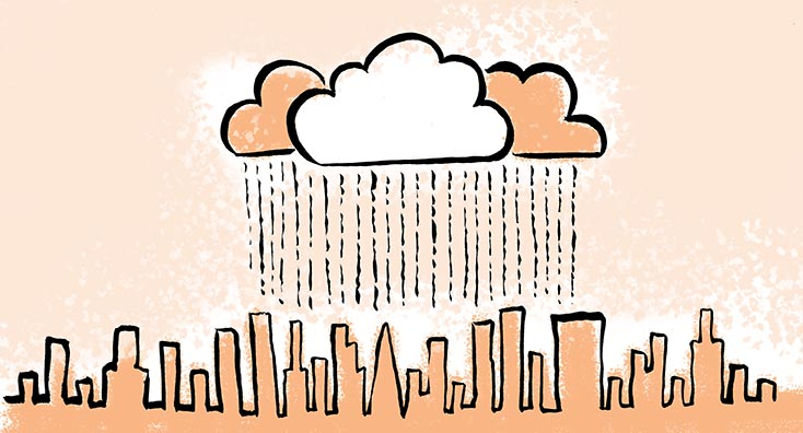Cloud over skyscrapers, representing Office 365 Identity Management in Cross-Tenant Migrations